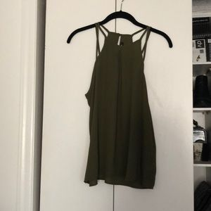 Strapped Halter Blouse Olive Green